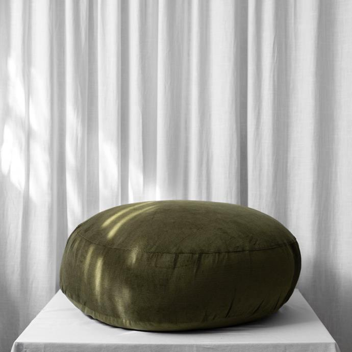 """Lewis Pouf in Olive, $299, [McMullin and Co.](https://www.mcmullinandco.com/lewis-pouf-olive