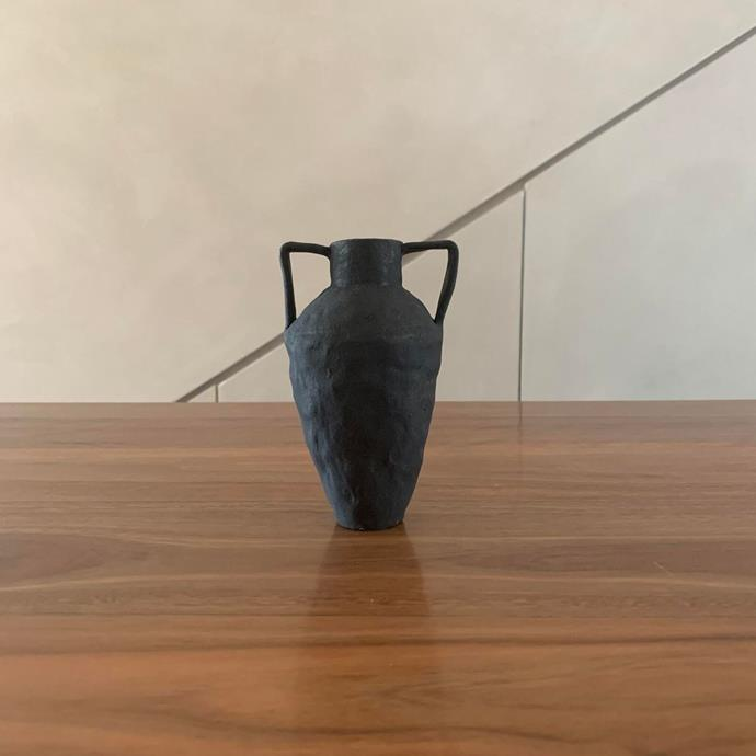 "Tara Burke Small Black Ceramic Vase, $160, [In Bed](https://inbedstore.com/collections/ceramics/products/tara-burke-small-black-ceramic-vase|target=""_blank""