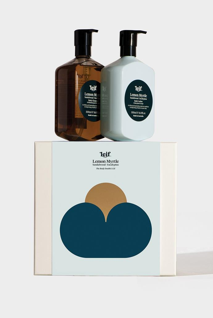 "Leif - 'The Body Double' Set - Body Cleanser & Body Lotion, Lemon Myrtle, $58, [Milligram](https://milligram.com/leif-othe-body-doubleo-gift-set-of-2-body-cleanser-body-lotion-500ml-lemon-myrtle?currency=AUD&gclid=CjwKCAjw7-P1BRA2EiwAXoPWAy5Ezt3wrDBKKz8XpGQFT90Tuvp9MyWgywMnOh030ODGOaU9P9qKCRoCXnEQAvD_BwE|target=""_blank""