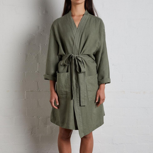 "100% linen robe in khaki, $140, [In Bed](https://inbedstore.com/collections/robes/products/100-linen-robe-in-khaki|target=""_blank""