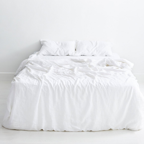 "White 100% flax linen bedding set, from $250, [Bed Threads](https://bedthreads.com.au/collections/bedding-sets/products/white-flax-linen-bedding-set?variant=11267482877999|target=""_blank""