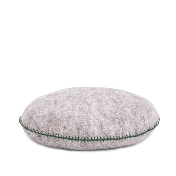 """Smartie Cushion in Light Stone, $76, [Poéme](https://poemelifestyle.com/products/smartie-round-cushion-5