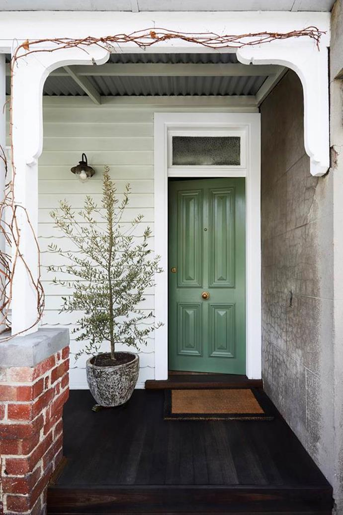 "An olive tree growing in the concrete pot complements the olive green door of a [renovated worker's cottage in Melbourne](https://www.homestolove.com.au/a-renovated-workers-cottage-that-maximises-space-19157|target=""_blank"")."