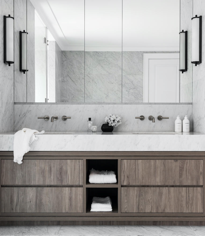 Carrara marble vanity benchtop, Granite & Marble Works. Brodware' City Stik' tapware in Brushed Platinum. Custom joinery by Jemma Brender and Trademark Joinery.
