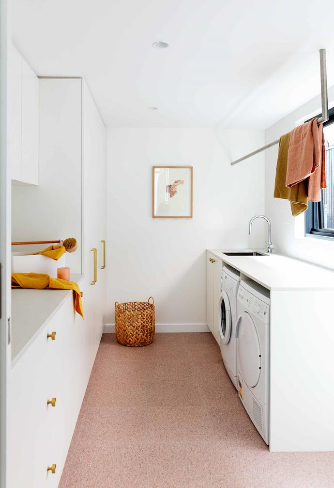 "**Laundry** Pink Italian terrazzo flooring from [Surface Gallery](https://surfacegallery.com.au/|target=""_blank""