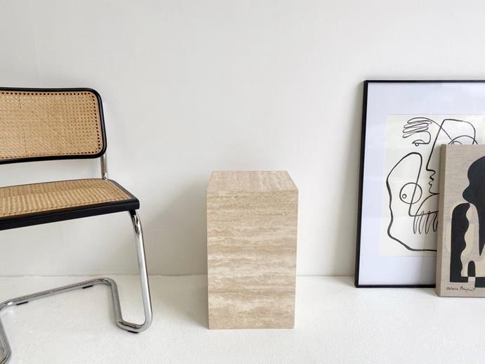 "Vein Cut Travertine Plinth, $550, [en gold](https://engold.com.au/collections/core-collection/products/vein-cut-travertine-plinth-1|target=""_blank""|rel=""nofollow"")"