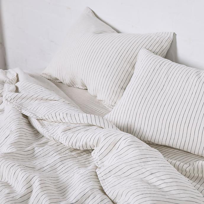 "100% Linen Duvet Cover in Pinstripe Navy, $315, [In Bed](https://inbedstore.com/collections/duvet-covers/products/100-linen-duvet-cover-in-pinstripe-navy?variant=31150281130064|target=""_blank""|rel=""nofollow"")"