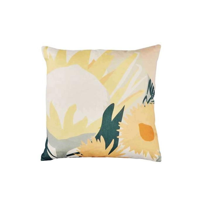 "Returning Home Art Cushion, $139, [Greenhouse Interiors](https://greenhouseinteriors.com.au/collections/cushions/products/returning-home-art-cushion|target=""_blank""|rel=""nofollow"")"