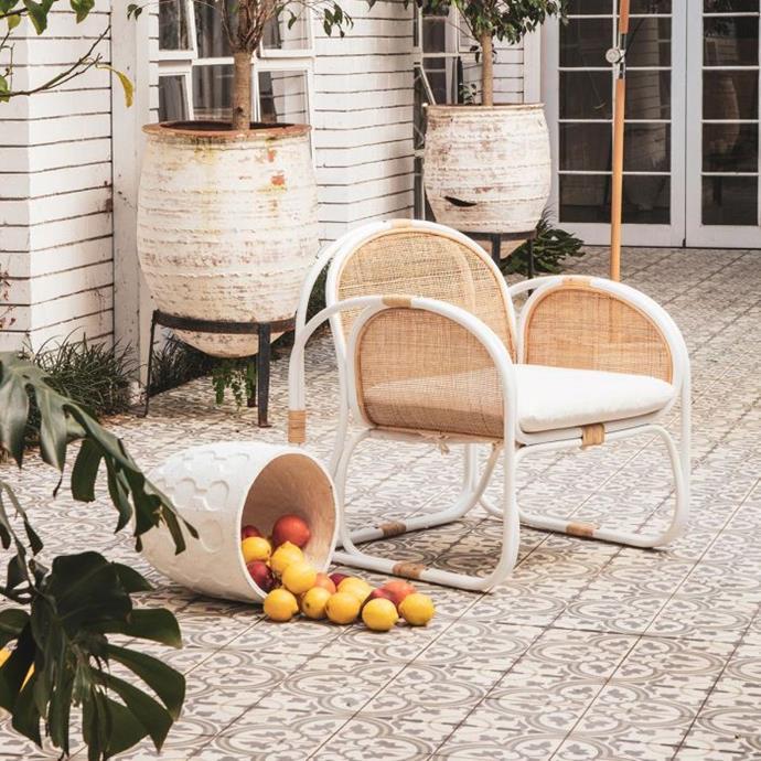 "Bermuda Designer Chair in white rattan/natural, $699, [Oz Design](https://ozdesignfurniture.com.au/bermuda-designer-chair-in-white-rattan-natural|target=""_blank""|rel=""nofollow"")"
