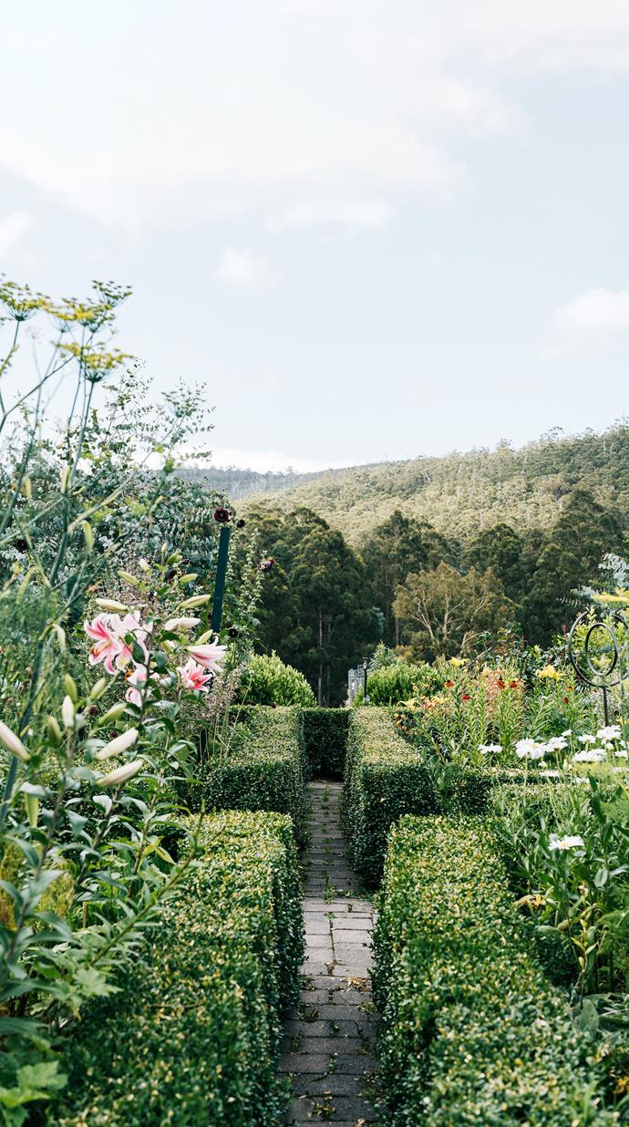 Marian designed the terraced, parterre cutting garden based on the work of English garden designer and television presenter Monty Don. In the summer months, fennel and euphorbia are in abundance, kept neat by clipped box hedge borders.