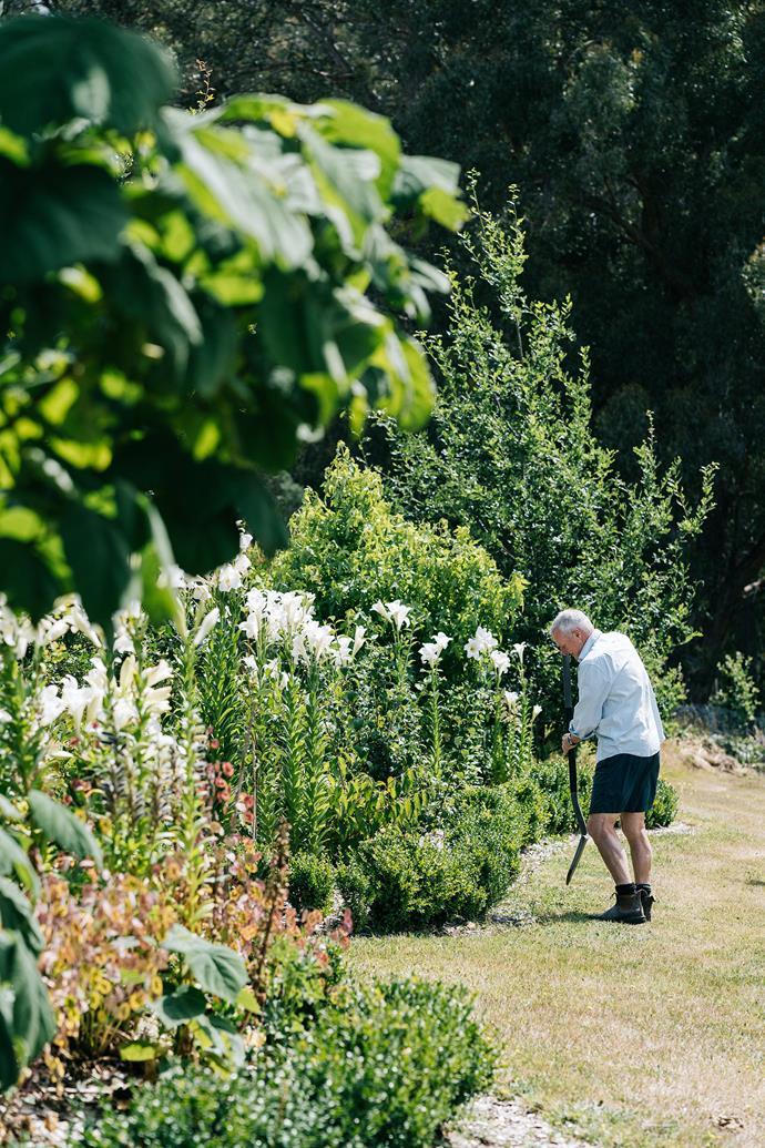 Rob tending the extensive white garden.