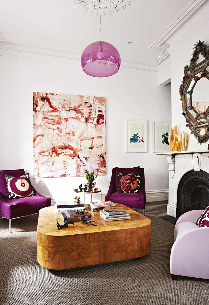 **Sitting room** A vivid painting by Todd Hunter sets the scene for statement pieces with plush armchairs from [Space Furniture](https://www.spacefurniture.com.au/) and a Paul Evans 'Burrwood' coffee table.