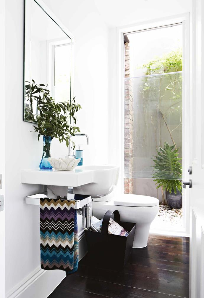 **Powder room** This zone looks onto the private internal courtyard to give the petite area a sense of space.
