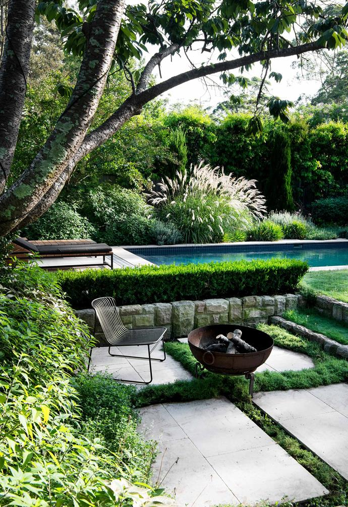 """Plants under the cherry tree include, from left, catmint, Mexican bush sage and Persian Shield.  Riviera easy chair and dining chair, Bronte table and bench, and Angelina fire pit, all [Eco Outdoor](https://www.ecooutdoor.com.au/