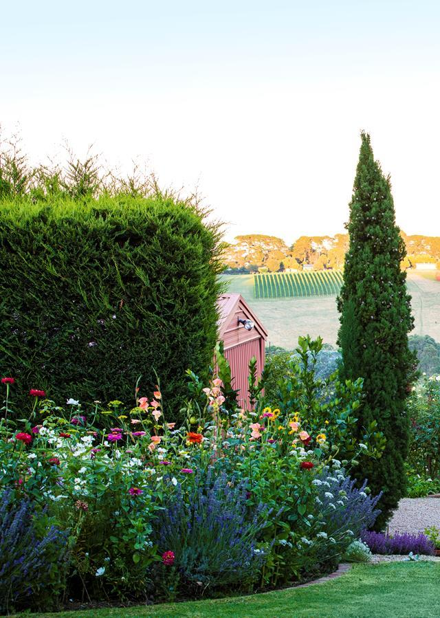 "This stunning [edible garden on Victoria's Mornington Peninsula](https://www.homestolove.com.au/formal-cottage-garden-italy-5954|target=""_blank"") is textures, fragrant and dotted with colour. Rosemary, mint and the pink flowerheads of *Sedum* 'Autumn Joy' mingle with citrus and roses in tones of white and lemon."