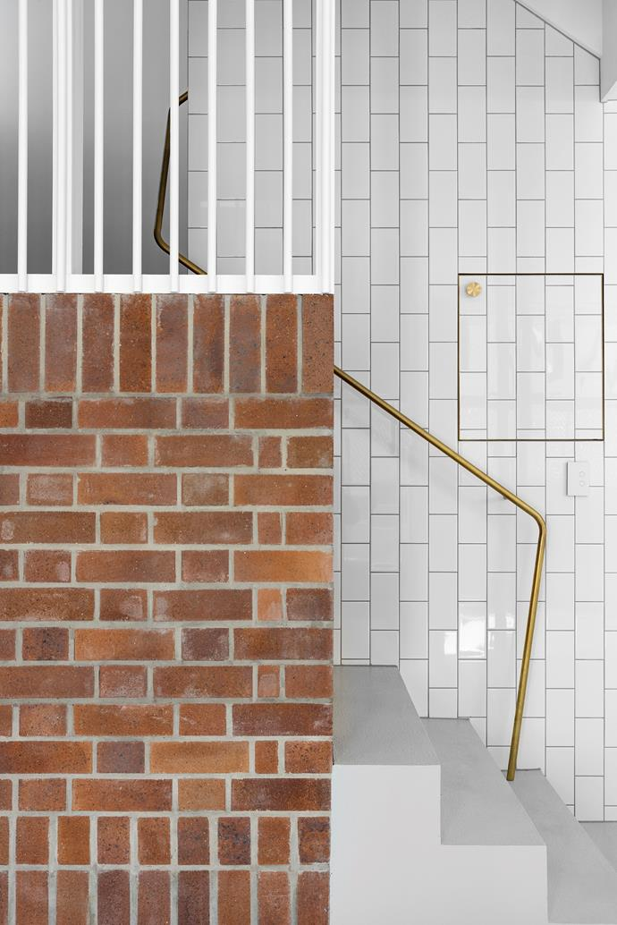 """Paul put his own twist on a traditional brickwork pattern. """"You could call it an interpreted Flemish bond pattern,"""" he says of the signature Black and Tan bricks from PGH Bricks & Pavers, which infuse the home with texture, inside and out"""