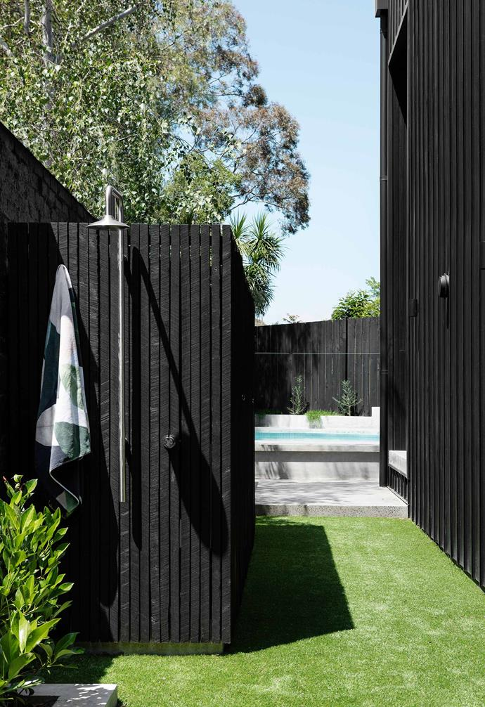 "**Backgarden** The outdoor shower screen is stained [Porter's Paints](https://www.porterspaints.com/|target=""_blank""