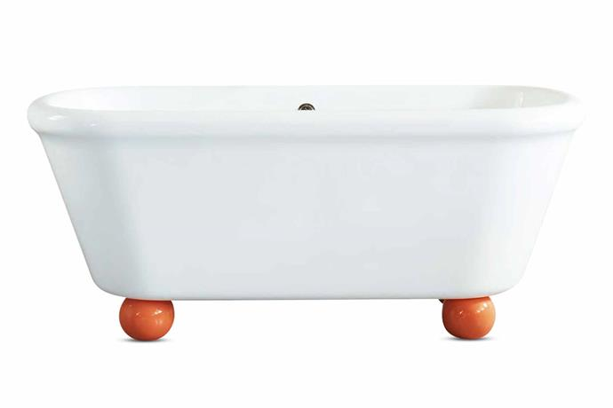 """The Water Monopoly 'Rockwell' Vitrite bath with orange ball feet, from $12,885, [The English Tapware Company](https://www.englishtapware.com.au/
