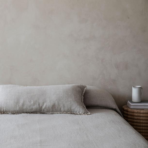"Mira Linen Bedcover - Manu Sand, $355, [Cultiver](https://cultiver.com.au/collections/quilts-bedcover/products/mira-linen-bedcover-manu-sand|target=""_blank""