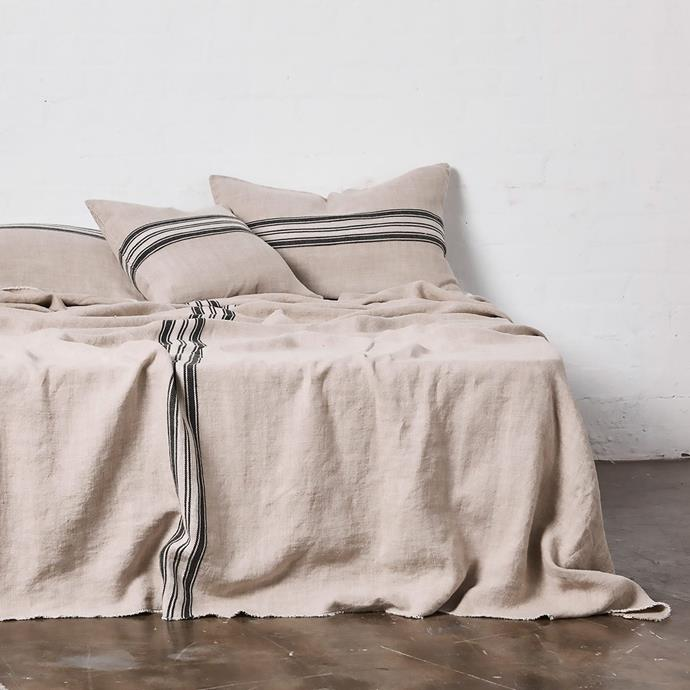 "Heavy Linen Bed Cover with Stripes in Natural, $380, [In Bed](https://inbedstore.com/collections/bedding/products/heavy-linen-bedcover-with-stripes-in-natural|target=""_blank""