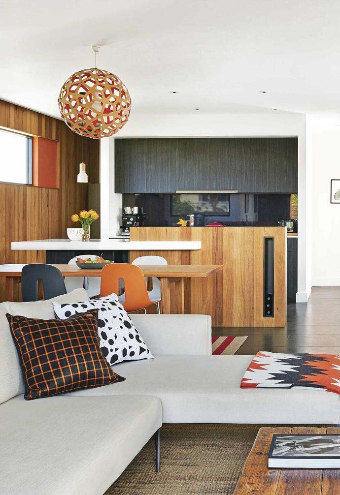 """**Plain and simple** The look of the upper level's [kitchen, living and dining area](https://www.homestolove.com.au/20-best-open-plan-living-designs-17877