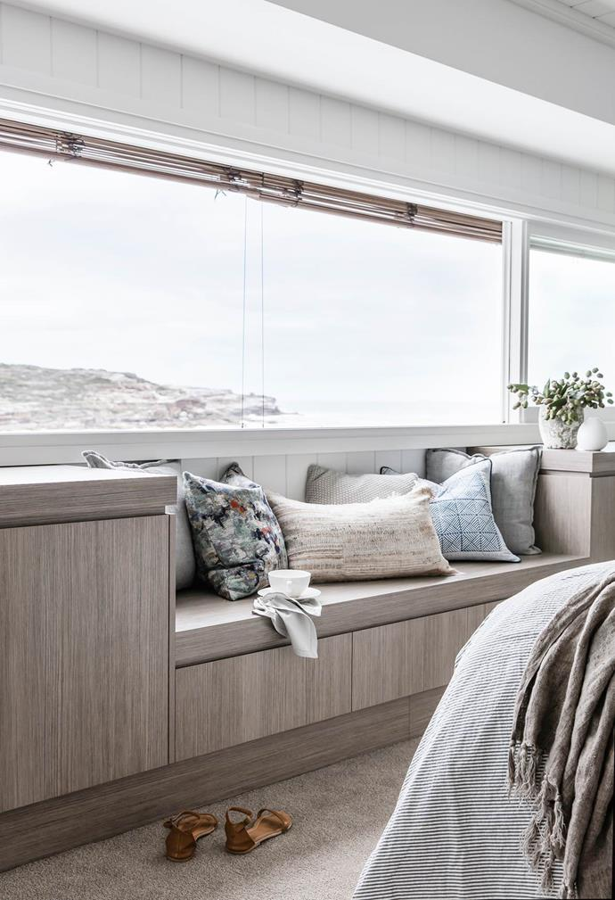 "Jo and Cameron Habler briefed architect Walter Barda to design a [modern beach](https://www.homestolove.com.au/preview/coastal-style-an-airy-new-build-in-sydney-4577|target=""_blank"") house with plenty of room for the family. The result is a light and tranquil home where every day feels like a holiday. The light wood and neutral palette of the window seat area takes inspiration from the surrounding landscape."