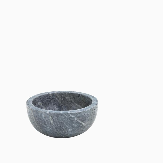 """Bolia black marble bowl, $65, [Arrival Hall](https://arrivalhall.com.au/products/bolia-black-marble-bowl?_pos=1&_sid=8cdd78c0c&_ss=r
