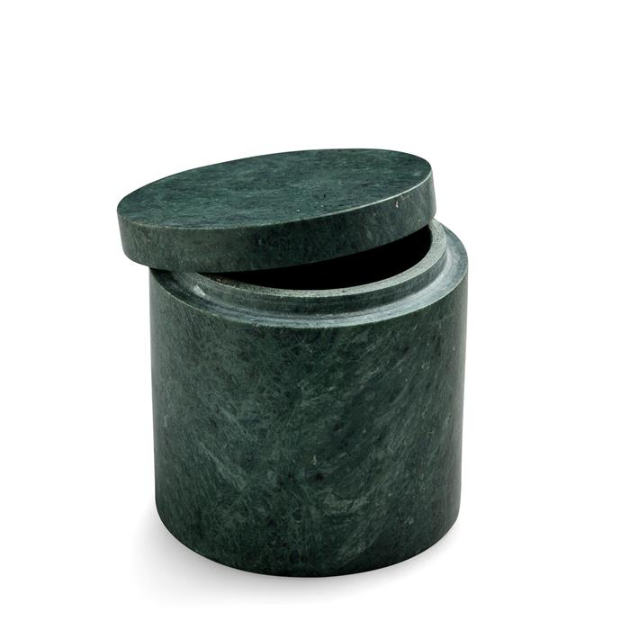 """Green Marble Canister with Lid, $119, [Nordic Rooms](https://www.nordicrooms.com.au/green-marble-canister-with-lid-10.5x10.5cm