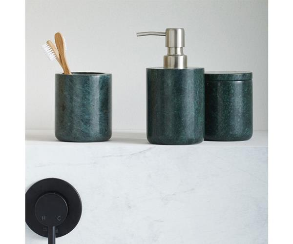 """Linen House Green Marble Bathroom Accessories, from $44, [Domayne](https://www.domayne.com.au/linen-house-green-marble-bathroom-accessories.html