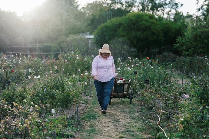 Sandy McKinley at work on her micro flower farm