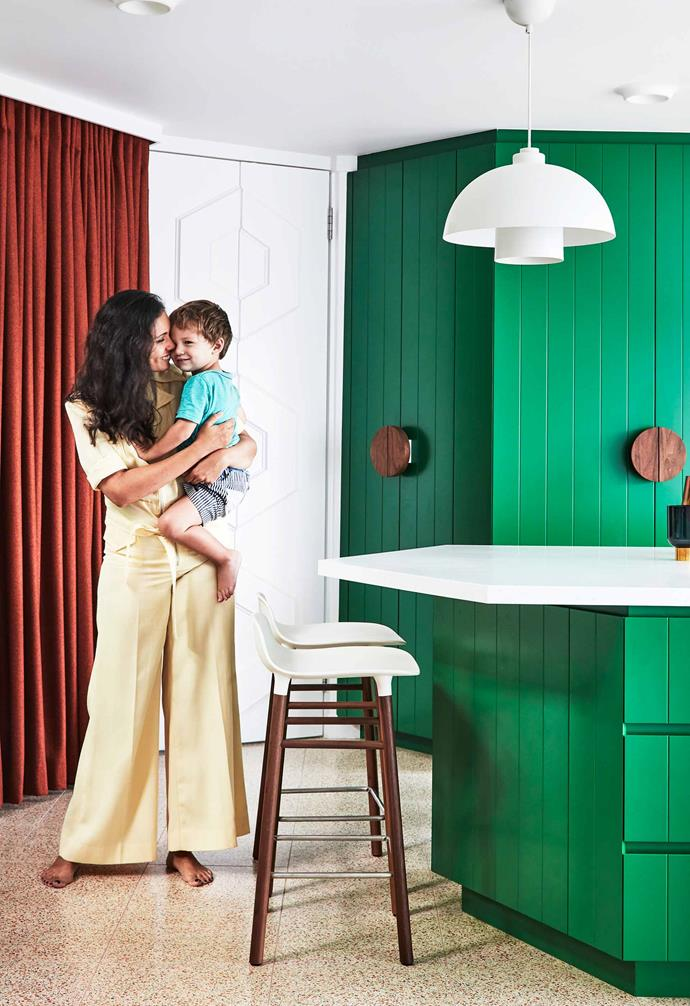 """**Eating area** Chris and son Jack near their hexagonal island bench painted [Dulux](https://www.dulux.com.au/