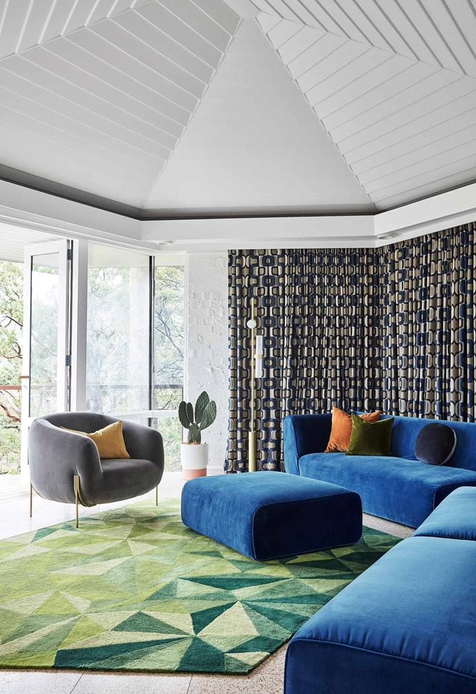 """**Living** A vibrant green rug by [Tappeti](https://www.tappeti.com.au/