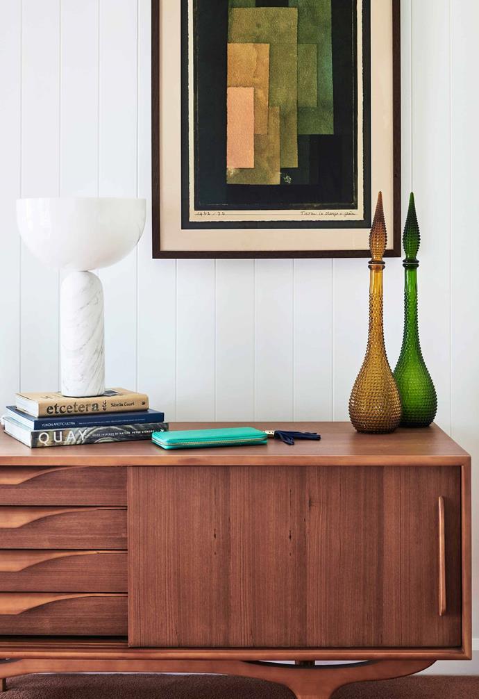 "**Main bedroom** Artwork by Paul Klee looks just the part here. Ambert console, Horgans. Kizu lamp, [HG Furniture Solutions](https://www.hgfs.com.au/|target=""_blank""|rel=""nofollow""). Vintage glassware."