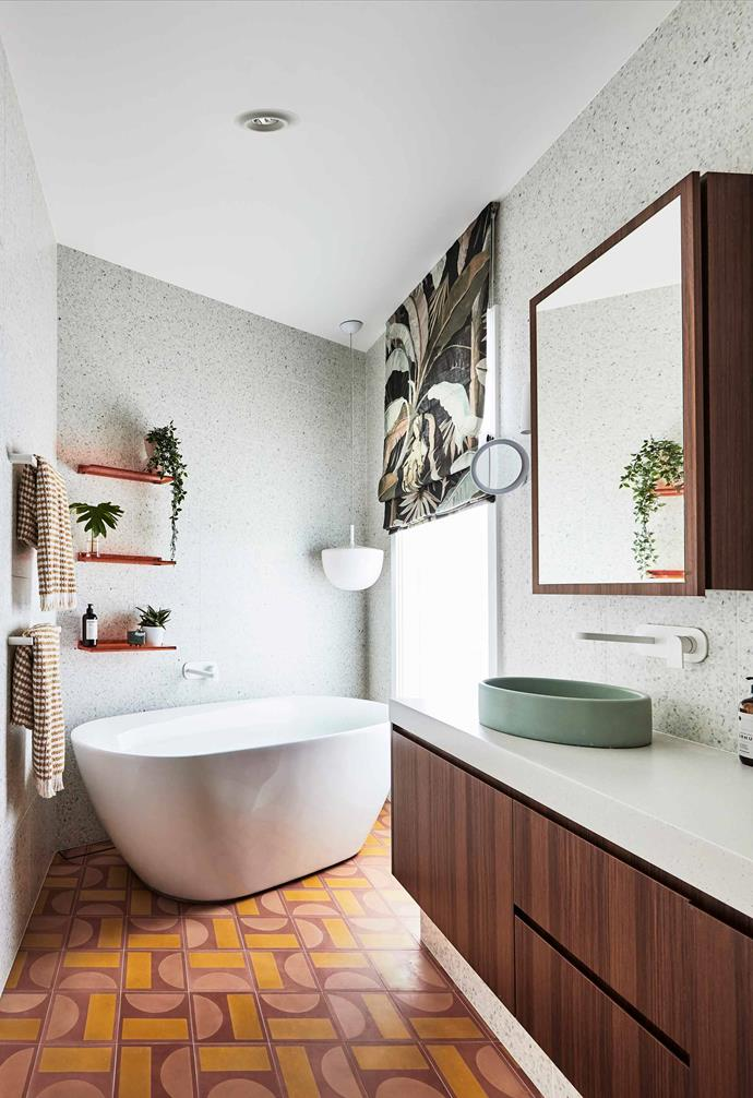 "**Ensuite** Cinque Terre cement tiles from [Sarah Ellison](https://sarahellison.com.au/|target=""_blank""|rel=""nofollow"")'s 'Beach Club' collection are teamed with Platinum Terrazzo wall tiles from [Teranova](http://teranova.com.au/|target=""_blank""|rel=""nofollow""). Mint concrete basin, [Nood Co](https://noodco.com.au/|target=""_blank""|rel=""nofollow""). Blind fabric from Catherine Martin's 'La Palma' range. Metropolis tapware, [Astra Walker](https://www.astrawalker.com.au/|target=""_blank""|rel=""nofollow"")."