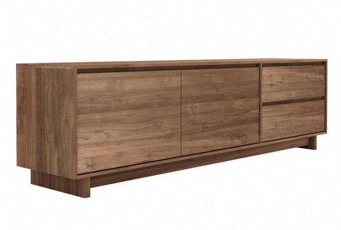 """Sustainably made and featuring dramatic good looks, we can't get enough of this tv console. Ethnicraft Teak Wave TV cupboard, $2650, [Curious Grace](https://curiousgrace.com.au/collections/tv-entertainment-units/products/ethnicraft-teak-wave-tv-cupboard-2-opening-doors-1-flip-down-drawer-1-drawer