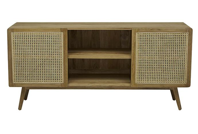 """Rattan has been one of the biggest trends in interior design over the past year, and this tv console features a mix of open-shelving and rattan doors for visual impact. Anja Woven Entertainment Unit, $2990, [Globe West](https://www.globewest.com.au/browse/anja-woven-entertainment-unit