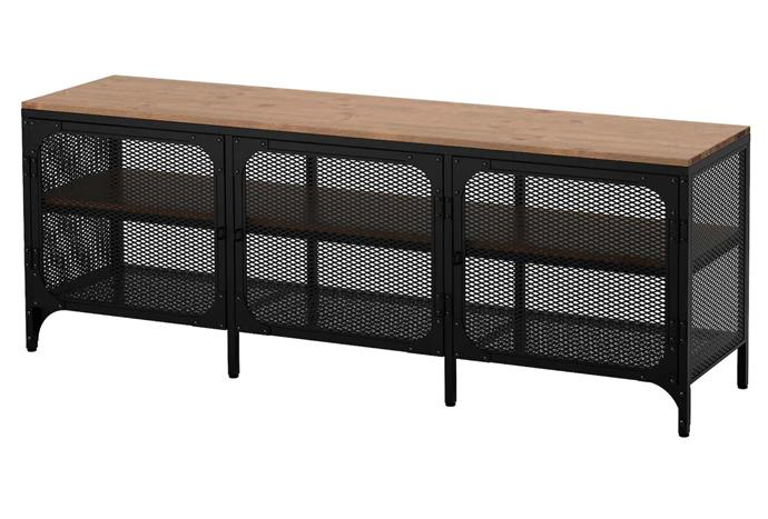 """This IKEA tv console embodies industrial cool, with the powder-coated steel adding a moody touch. FJALLBO TV Bench, $199, [IKEA](https://www.ikea.com/au/en/p/fjaellbo-tv-bench-black-30339293/