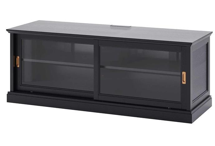 "Glass-fronted cabinet doors and brass sliding door pills? Sign us up! MALSJO TV Bench, $499, [IKEA](https://www.ikea.com/au/en/p/malsjoe-tv-bench-with-sliding-doors-black-stained-30327775/|target=""_blank""|rel=""nofollow"")."