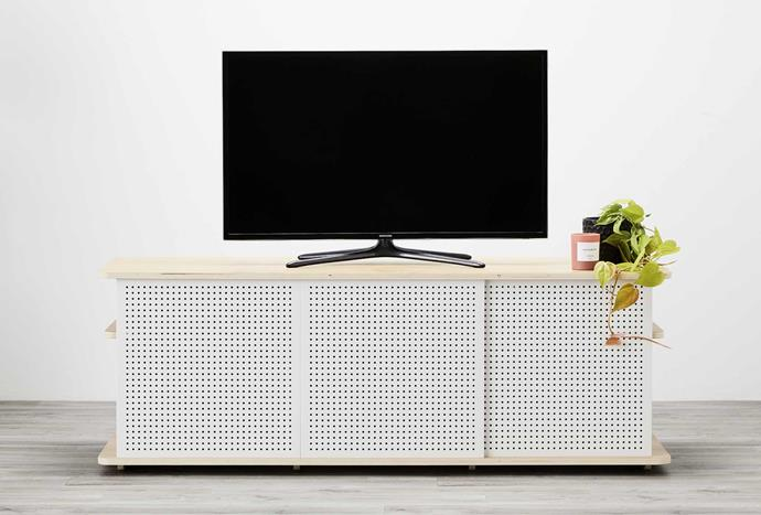"""With clever sliding doors and a hidden nook at the rear, this tv console is a stunning mix of Scandi-meets-Industrial style. The Koala TV Unit, $600, [Koala](https://bit.ly/3gnB5CY