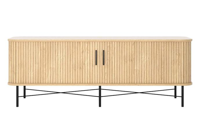 """Timber battens and sleek curves make this tv console from Life Interiors an elegant statement in any home. Ipanema TV Unit Oak, $1495, [Life Interiors](https://www.lifeinteriors.com.au/furniture/living-room/tv-units/life-interiors-ipanema-tv-unit-oak