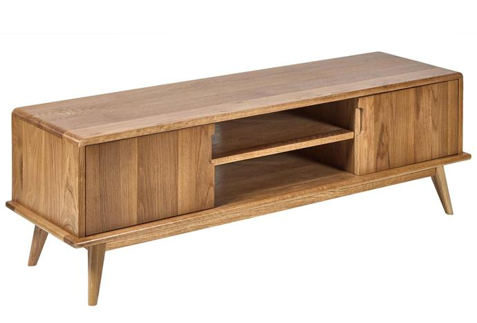 """When in doubt, opt for a classic timber tv console that's sure to work with any home aesthetic. Oscar Oak TV Unit, $449, [Temple & Webster](https://www.templeandwebster.com.au/Oscar-Oak-TV-Unit-QSFNTVOK-TPWT1548.html