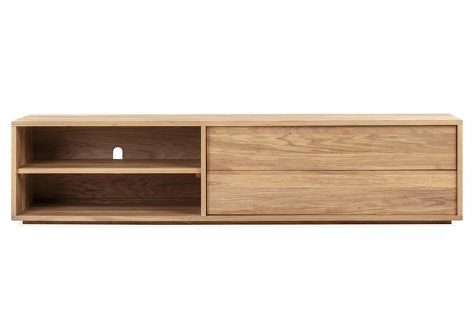 """Opt for open-shelves if you love creating stylish vignettes throughout your living space. Embody Entertainment Unit, $1899, [RJ Living](https://www.rjliving.com.au/buy-embody-entertainment-unit-oak.html