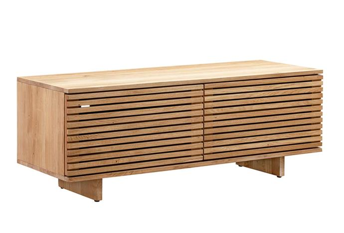 """A contemporary twist on the classic timber tv console, the timber battens of this tv console are a sophisticated touch. Linear Entertainment Unit, $1349, [RJ Living](https://www.rjliving.com.au/buy-linear-entertainment-unit-120cm-oak.html
