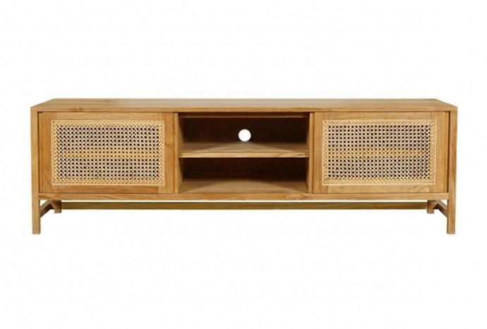 """The rattan trend isn't going anywhere soon, and a tv console is the perfect place to feature a highlight of the natural texture. Harper Entertainment Unit, $1870, [Trit House](https://www.trithouse.com.au/brands/trit-house/harper-entertainment-unit