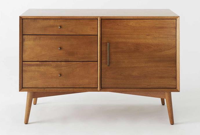 """For those seeking a mid-century modern look in their homes, aim for a TV console featuring darker timber to complement the rest of your home. Mid-Century Media Console, $1129, [West Elm](https://www.westelm.com.au/mid-century-media-console-small-h417