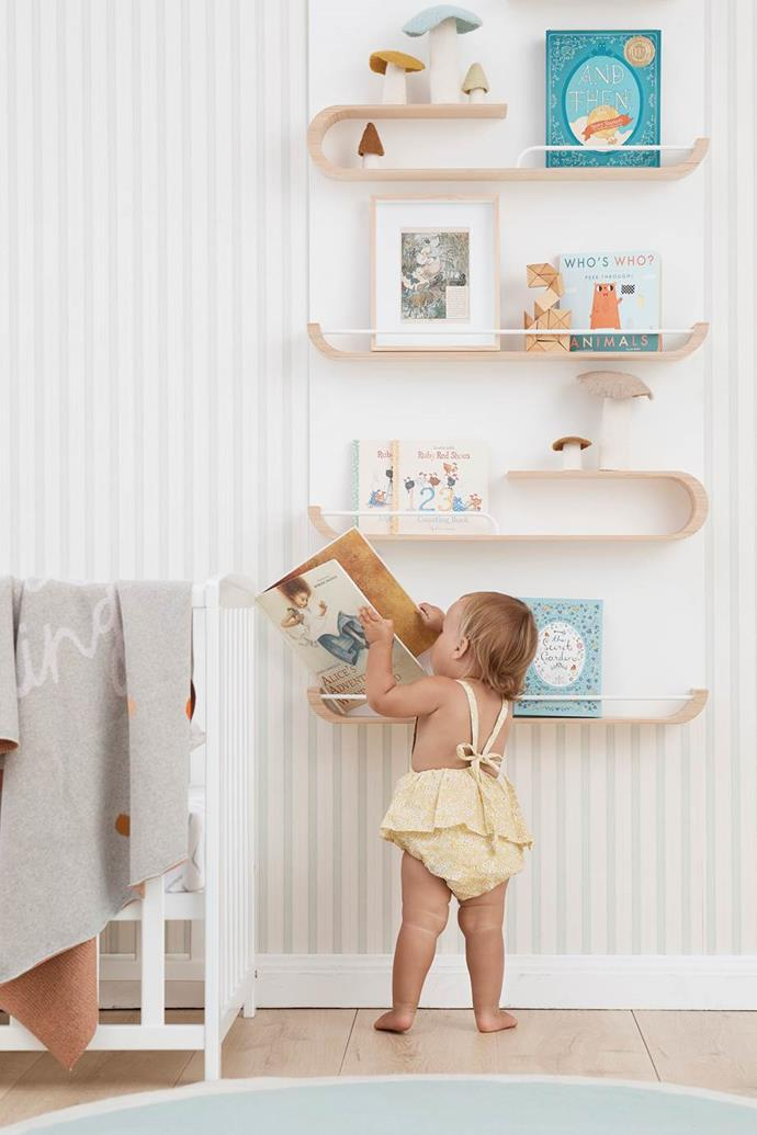 "To inspire curiosity and wonder, soft toys and picture books are displayed within reach in this neutral, [fairy tale-inspired baby room](https://www.homestolove.com.au/fairy-tale-kids-bedroom-ideas-19984|target=""_blank"")."