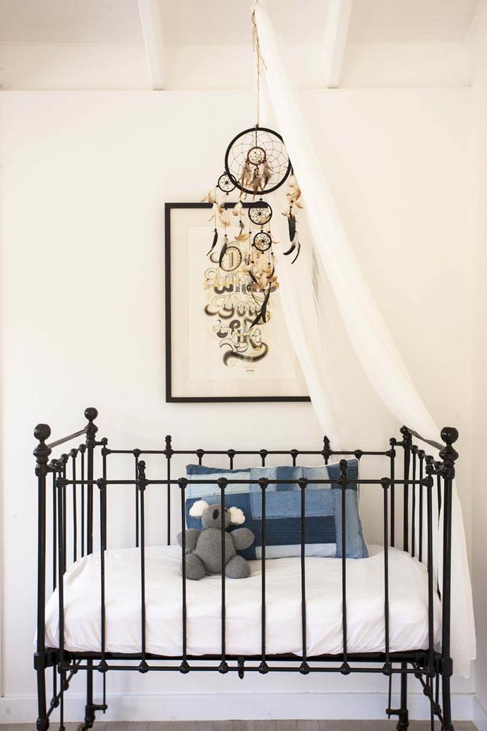 "A unique vintage cot is the focal feature of the nursery in One Teaspoon designer, [Jamie Blakey's beachside Sydney home](https://www.homestolove.com.au/gallery-jamies-beach-house-renovation-1408|target=""_blank"")."
