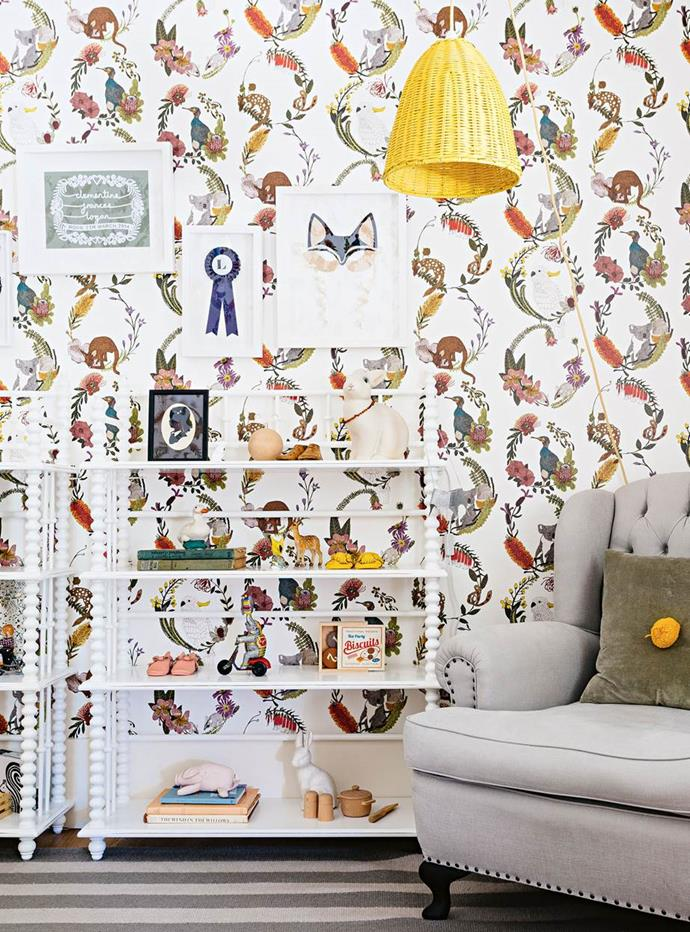 "Whimsical Sparkk wallpaper with native flora and fauna is the highlight of the nursery in this [modern shaker country home](https://www.homestolove.com.au/modern-shaker-country-home-13758|target=""_blank"") overlooking Mudgee wineries. ""When Minnie was really tiny she was mesmerised by it,"" said her mother. ""Now she picks out the animals and talks to the flowers. It's such a pretty space and I love watching her enjoy it."""