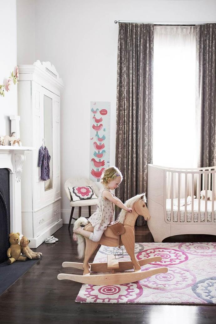 "With a mixture of new and restored finds, this elegant toddler's room is perfectly suited to a [1890s Victorian villa in Adelaide](https://www.homestolove.com.au/young-adelaide-family-finds-victorian-villas-soft-spot-3728|target=""_blank"")."