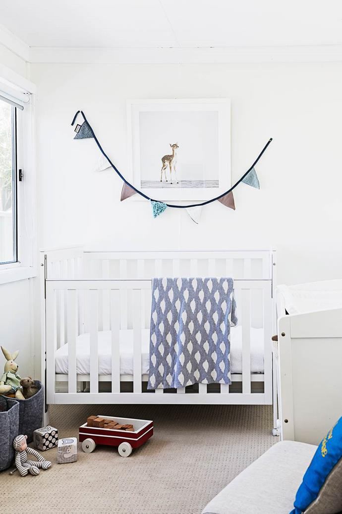 "A sweet boys baby room with fresh neutral decor is simply furnished in this [relaxed Central Coast house](https://www.homestolove.com.au/gallery-stella-and-michaels-coastal-dream-comes-true-2621|target=""_blank"")."